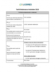 Tarifs redevance incitative 2018